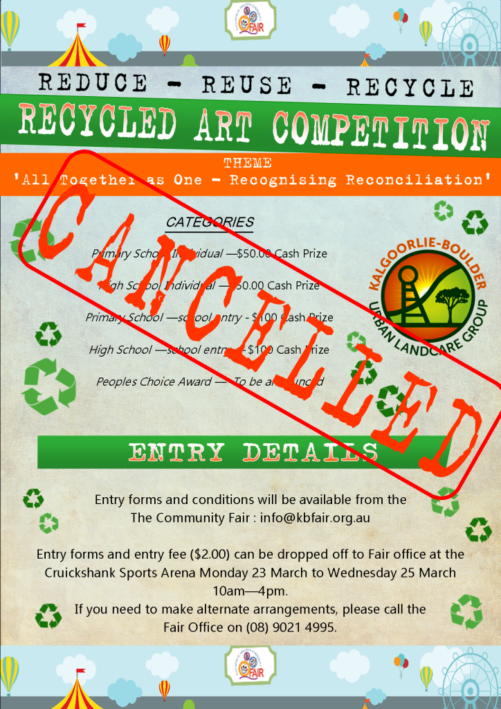 Cancelled - 2020 Community Fair Recycled Art Comp Flyer